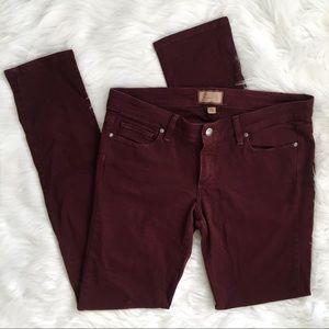 PAIGE Maroon Peg Skinny Pants